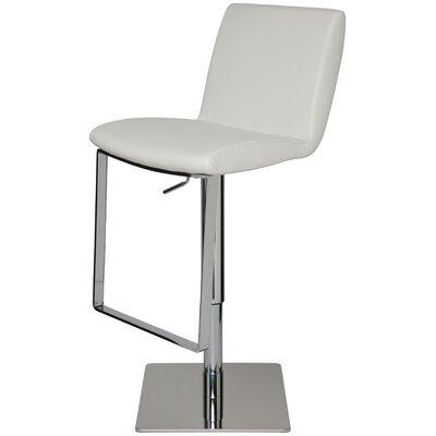 Braxton Adjustable Height Swivel Bar Stool Upholstery: White Naugahyde