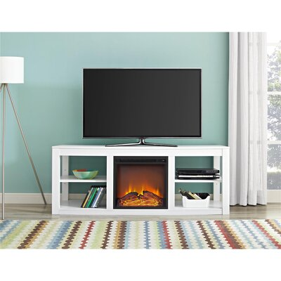 Salma TV Stand with Electric Fireplace Finish: White