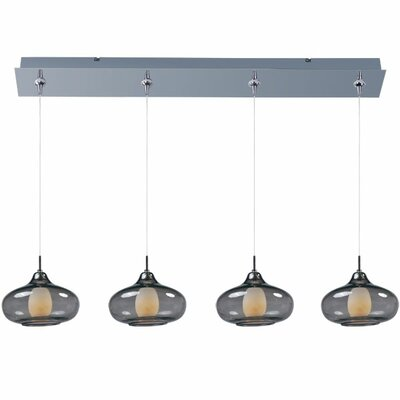 Montpelier 4-Light Pendant and Canopy Shade Color: Smoke, Finish: Polished Chrome
