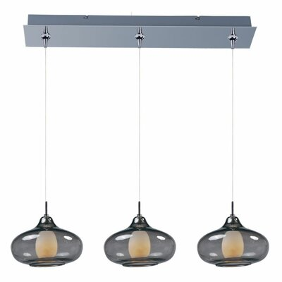 Montpelier 3-Light Pendant and Canopy Shade Color: Smoke, Finish: Polished Chrome