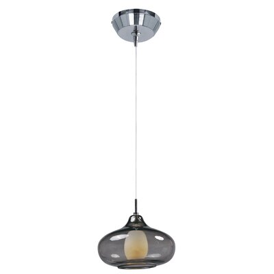 Montpelier 1-Light Pendant and Canopy Shade Color: Smoke, Finish: Polished Chrome