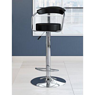 Adjustable Height Swivel Metal Bar Stool (Set of 2) Upholstery: Black