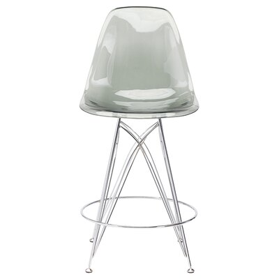 Lipford 25.5 inch Bar Stool Upholstery: Gray Chromed