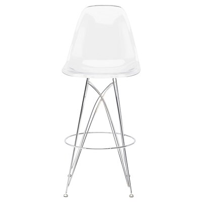 Britten 28.5 Bar Stool Upholstery: Clear Chromed