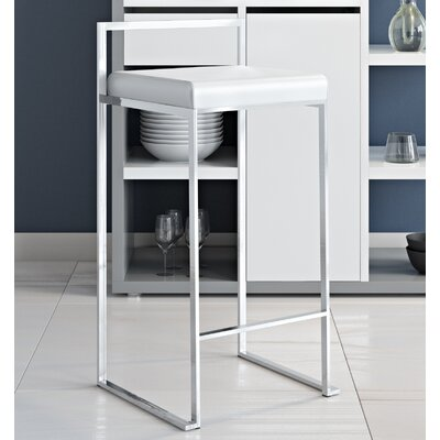 Gary 27 Bar Stool Fabric Color: White, Finish: Stainless Steel