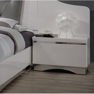 Hinton Blewett 1 Drawer Nightstand Finish: Glossy White