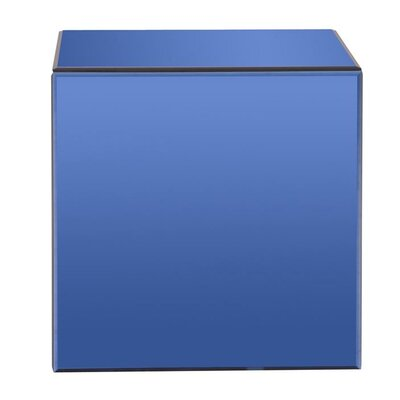 Galindo Mirrored Cube End Table Finish: Blue