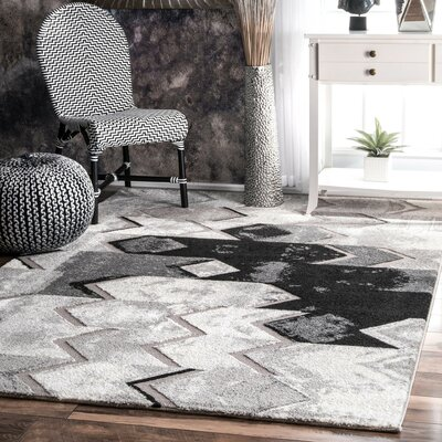 Longwell Green Gray Area Rug Rug Size: 53 x 77