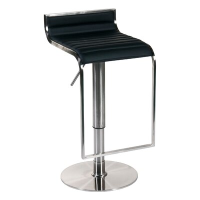 Bannerdown Adjustable Height Swivel Bar Stool Upholstery: Black