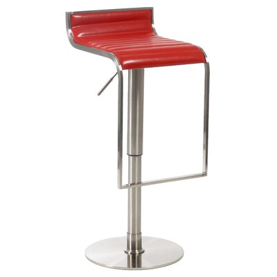 Bannerdown Adjustable Height Swivel Bar Stool Upholstery: Red
