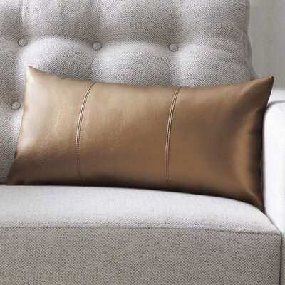 Smetana Faux Leather Lumbar Pillow Color: Avanti Bronze