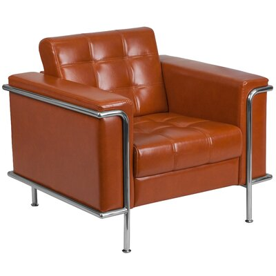 Myron Leather Guest Chair Seat Color: Cognoc