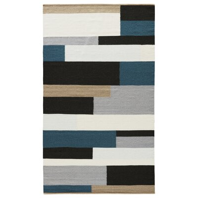 Reuben Jet Black/Mediterranea Area Rug Rug Size: Rectangle 2' x 3'