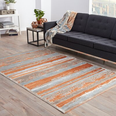 Elvis Orange/Taupe Area Rug Rug Size: 26 X 8