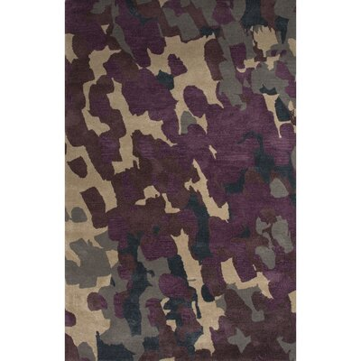 Valentino Wool and Art Silk Hand Tufted Purple/Ivory Area Rug Rug Size: 5 x 8
