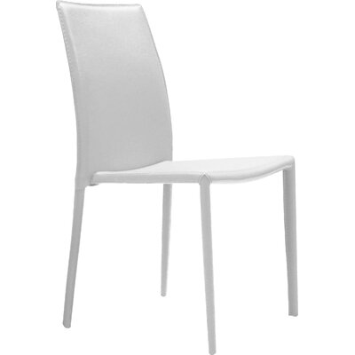 Meade Leather Upholstered Dining Chair (Set of 4) Chair Finish: White