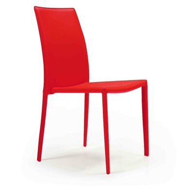 Meade Leather Upholstered Dining Chair (Set of 4) Chair Finish: Red