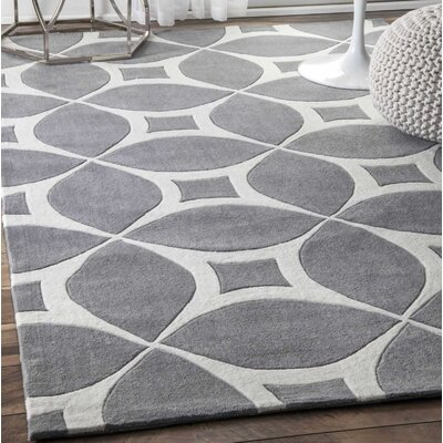 Kane Hand-Tufted Gray Area Rug Rug Size: Rectangle 86 x 116