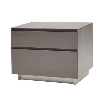 Bairdstown 2 Drawer Nightstand Color: Grey