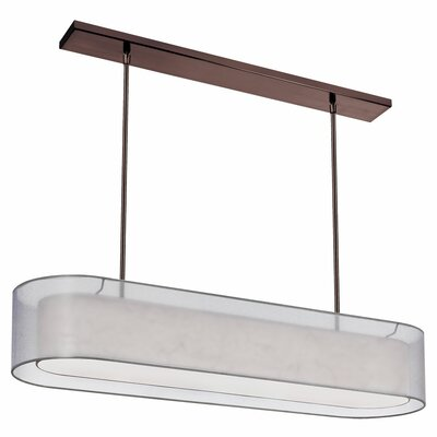 Dionysus 4-Light Adjustable Height Kitchen Island Pendant Shade Color: Silver, Finish: Oil brushed bronze