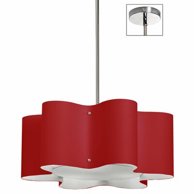 Margolis 3-Light Pendant Size: 8 H x 20 W x 20 D, Shade Color: Red