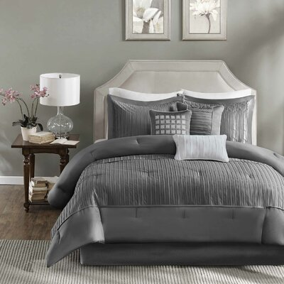 Quinn 7 Piece Comforter Set Size: King, Color: Gray