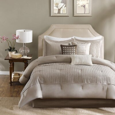 Quinn 7 Piece Comforter Set Size: Queen, Color: Taupe