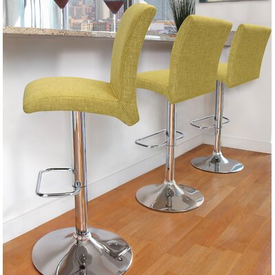 Jilliann Adjustable Height Swivel Bar Stool Upholstery: Vintage Green