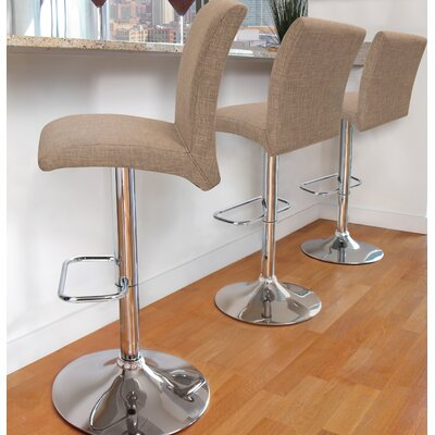 Flavin Adjustable Height Swivel Bar Stool Upholstery: Medium Brown