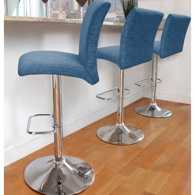 Flavin Adjustable Height Swivel Bar Stool Upholstery: Blue