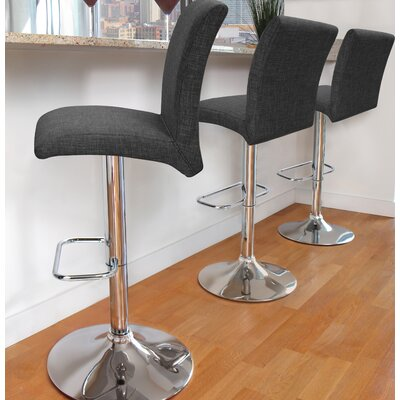 Eris Adjustable Height Swivel Bar Stool Upholstery: Charcoal