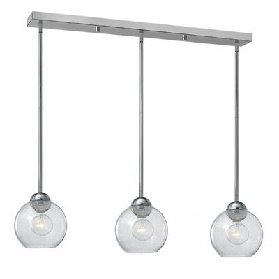 Courtenay 3-Light Glass Shade Pendant Finish: Polished Chrome, Shade Color: Clear Seedy