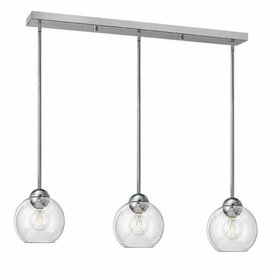 Courtenay 3-Light Glass Shade Pendant Shade Color: Clear, Finish: Polished Chrome