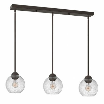 Courtenay 3-Light Glass Shade Pendant Finish: Vintage Bronze, Shade Color: Clear Seedy