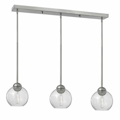 Courtenay 3-Light Glass Shade Pendant Finish: Brushed Nickel, Shade Color: Clear Seedy