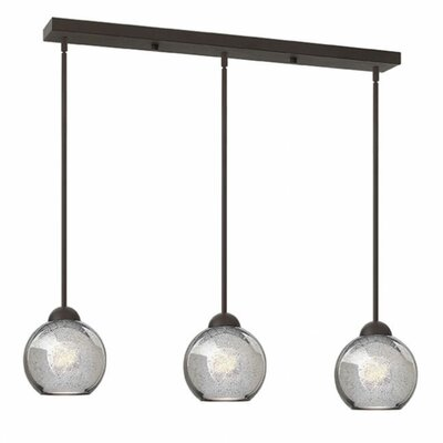 Courtenay 3-Light Glass Shade Pendant Finish: Vintage Bronze, Shade Color: Faux Mercury