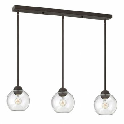 Courtenay 3-Light Glass Shade Pendant Shade Color: Clear, Finish: Vintage Bronze