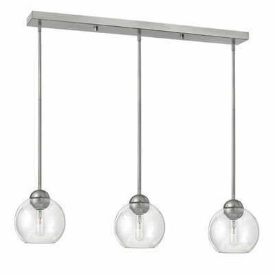 Courtenay 3-Light Glass Shade Pendant Finish: Brushed Nickel, Shade Color: Clear