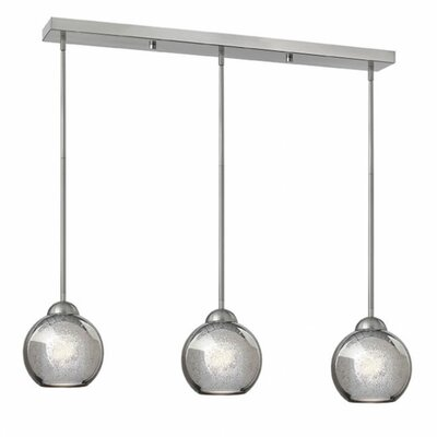 Madeline 3-Light Pendant Finish: Brushed Nickel, Shade Color: Faux Mercury