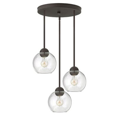 Kaylie 3-Light Pendant Shade Color: Clear, Finish: Vintage Bronze