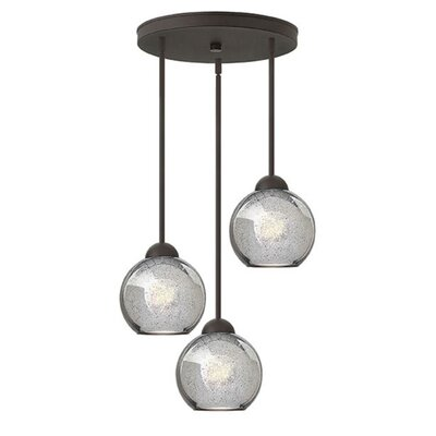 Courtenay 3-Light Pendant Finish: Vintage Bronze, Shade Color: Faux Mercury