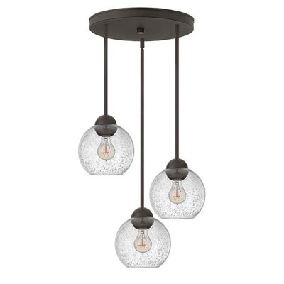 Courtenay 3-Light Pendant Finish: Vintage Bronze, Shade Color: Clear Seedy