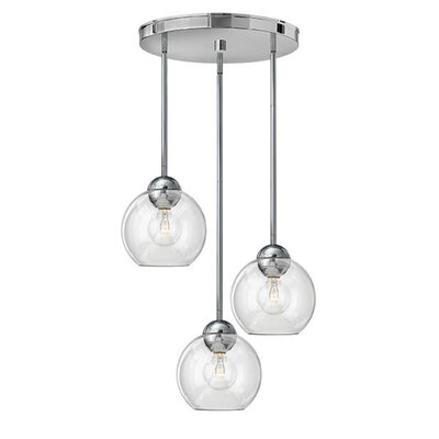 Kaylie 3-Light Pendant Shade Color: Clear, Finish: Polished Chrome