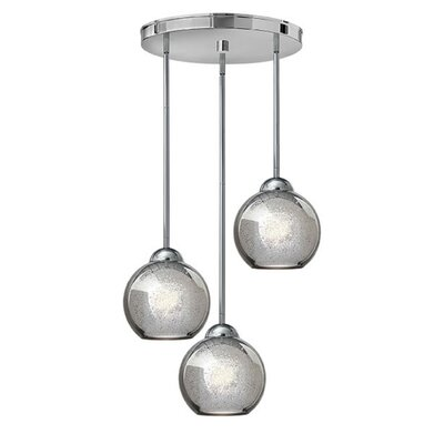 Courtenay 3-Light Pendant Finish: Polished Chrome, Shade Color: Faux Mercury
