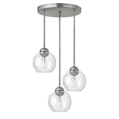 Kaylie 3-Light Pendant Finish: Brushed Nickel, Shade Color: Clear Seedy