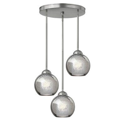 Courtenay 3-Light Pendant Finish: Brushed Nickel, Shade Color: Faux Mercury