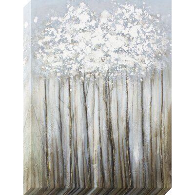 'Silver Foliage Metallic' Painting on Wrapped Canvas
