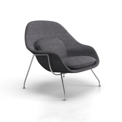 Alan  Lounge Chair Finish: Polished Stainless Steel, Upholstery: Green