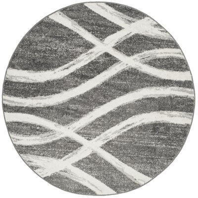 Graciano Ivory/Gray Area Rug Rug Size: Round 6
