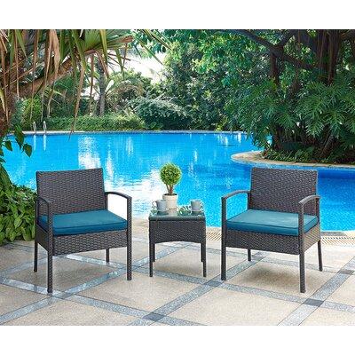 Kobe 3 Piece Lounge Seating Group with Cushion Fabric: Blue